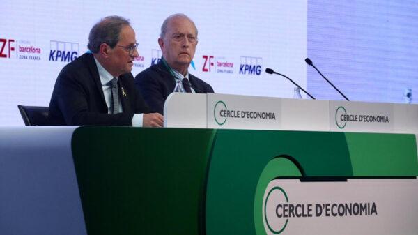 Quim Torra con el presidente del Círculo de Economía catalán, Juan José Bruguera