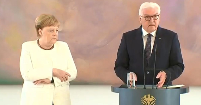 Angela Merkel en un acto en Berlín