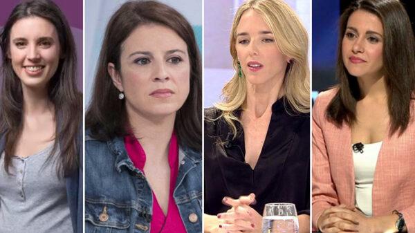 Irene Montero, Adriana Lastra, Cayetana Álvarez de Toledo e Inés Arrimadas