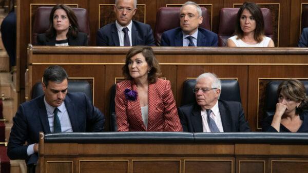Sánchez, Calvo y Borrell durante la investidura