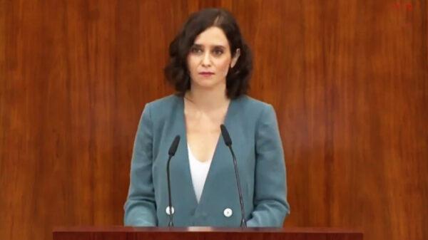 Isabel Díaz Ayuso durante su discurso de investidura
