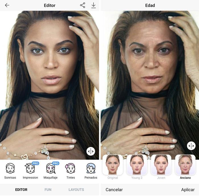 FaceApp aplicado a la cantante Beyoncé