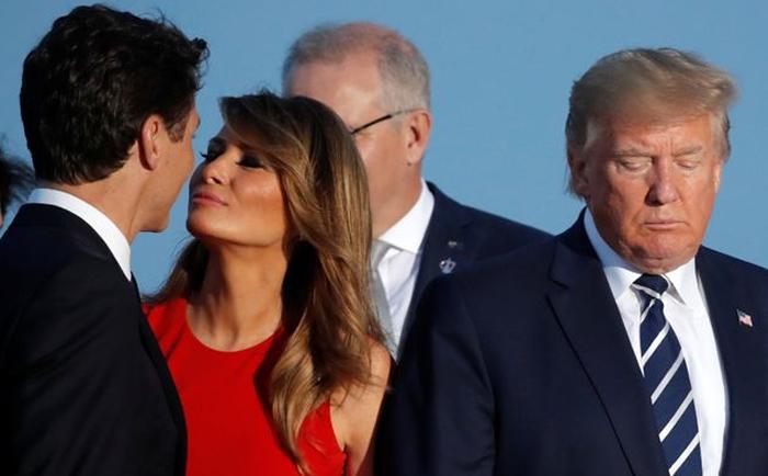 Justin Trudeau, Melania Trump y Donald Trump