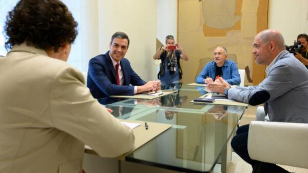 Sánchez en su reunión con los sindicatos