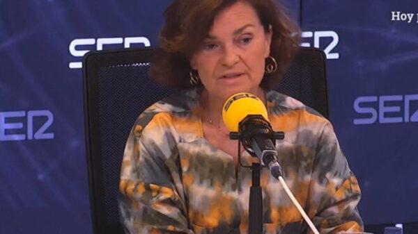 Carmen Calvo en una entrevista en Cadena Ser