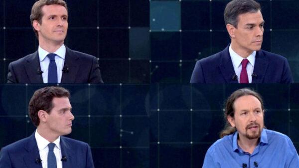 Casado, Sánchez, Rivera e Iglesias en uno de los debates electorales previos al 28A