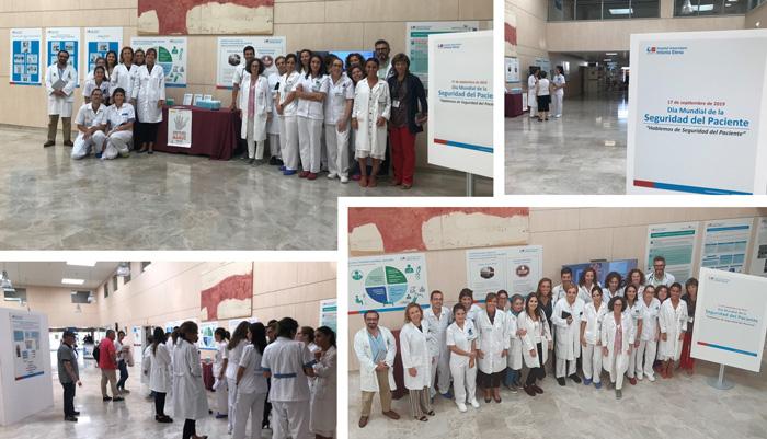 Imágenes de la exposición organizada en el hall del HUIE con motivo del Día Mundial de la Seguridad del Paciente