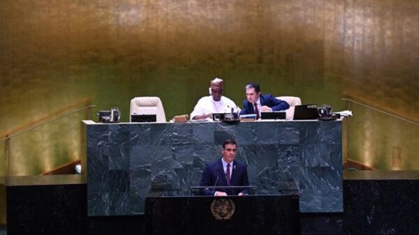 Pedro Sánchez durante su discurso en la ONU