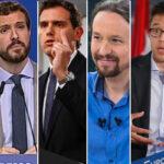 Sánchez, Casado, Rivera, Iglesias, Errejón y Abascal