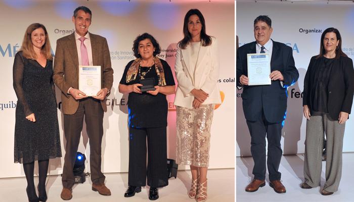 El doctor Dominé recoge la Mención de Honor 2019 en Investigación en Oncología (derecha) y la doctora González recoge el premio BIC al Mejor Hospital en Urología
