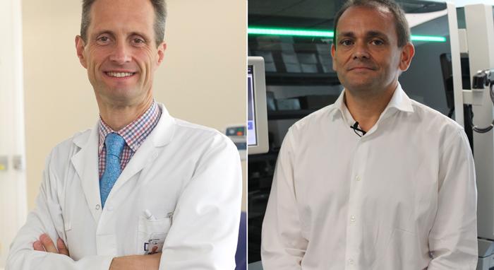 Los doctores Jesús García-Foncillas (izquierda) y Federico Rojo (derecha)