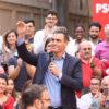 Pedro Sánchez en un acto de precampaña electoral