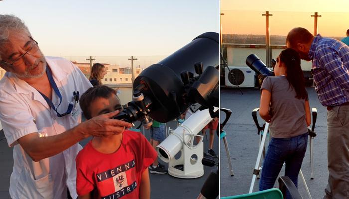 Los niños disfrutaron de la experiencia de ver las estrellas sin salir del hospital