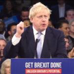 Boris Johnson en un mitin de campaña