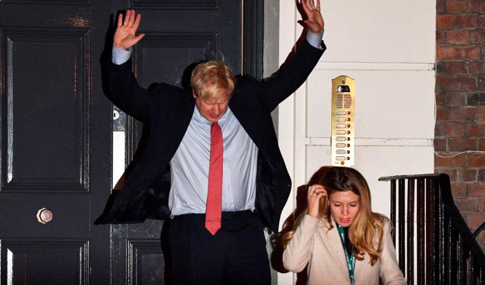 Boris Johnson tras conocer los resultados de las elecciones