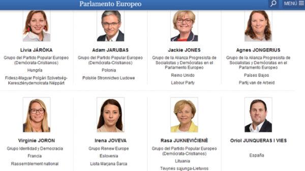 Junqueras en la web de Europarlamento