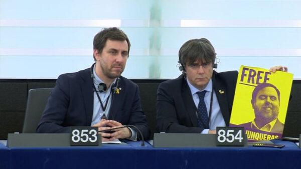 Puigdemont y Comín en la Eurocámara