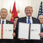 Donald Trump y el vice primer ministro de China, Liu He