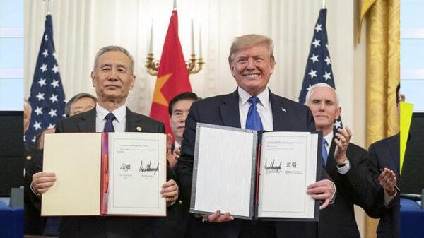 Donald Trump y el vice primer ministro de China, Liu He