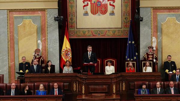 El Rey durante su discurso en la apertura de la Legislatura