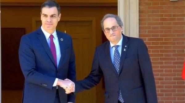 Pedro Sánchez y Quim Torra a las puertas de Moncloa