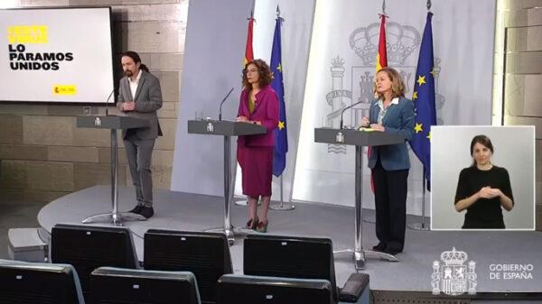 Pablo Iglesias, María Jesús Montero y Nadia Calviño en rueda de prensa