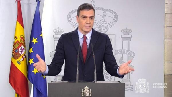 Pedro Sánchez decretando el estado de alarma