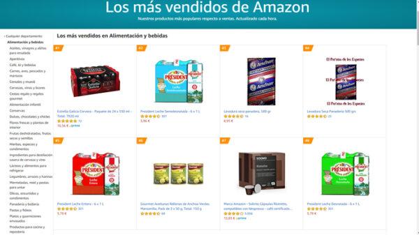 Captura de los productos más vendidos en Amazon en alimentación