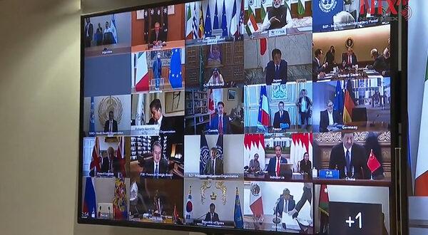 Reunión telemática de varios líderes mundiales