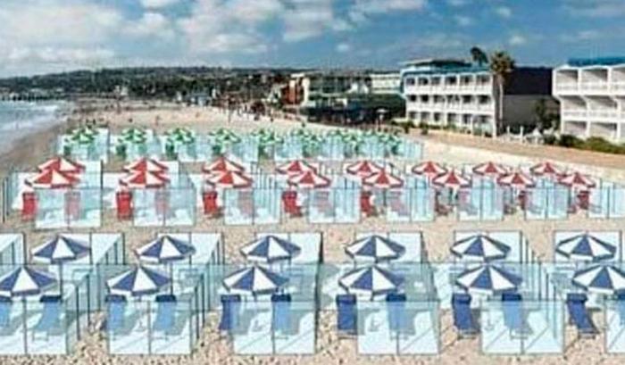 Recreación de cómo serían las cabinas de metacrilato en la playa
