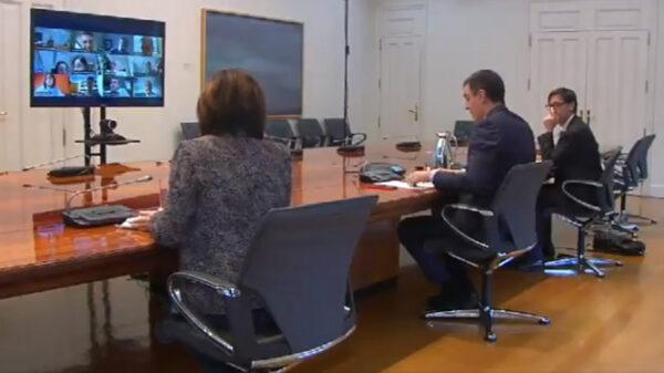 Pedro Sánchez en reunión telemática