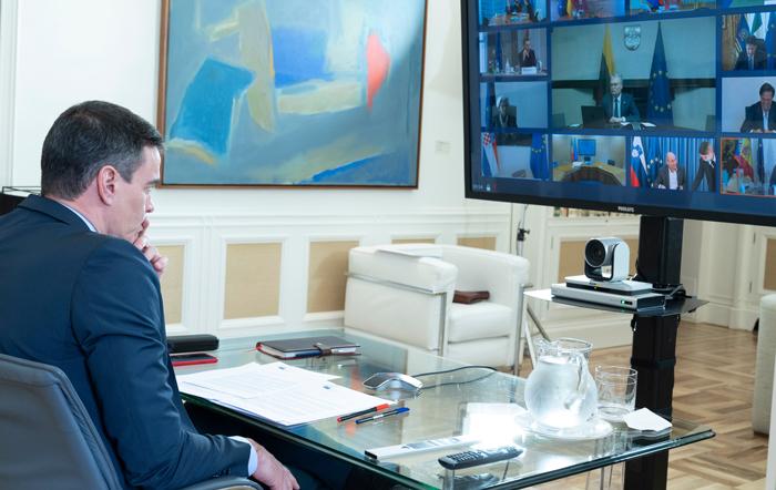 Sánchez en reunión telemática con los líderes de la UE