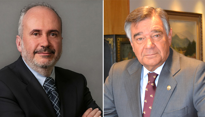A la izquierda, Javier Mercadé, director general de Neuraxpharma Spain; a la derecha, Luis González, presidente del COFM