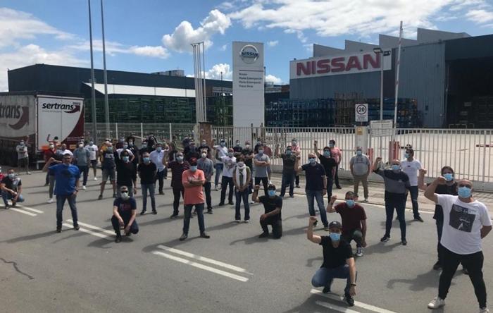 Trabajadores de la fábrica de Nissan en Barcelona