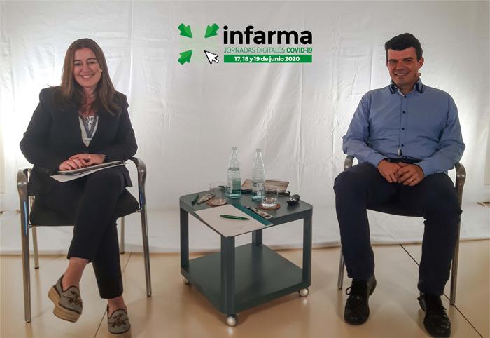 Aina Surroca Rebés, vocal del COFB; y Manel Rabanal, jefe de la Sección de Vigilancia y Publicidad de los Medicamentos, Departament de Salut, Generalitat de Catalunya
