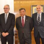 Jordi de Dalmases, presidente del COF de Barcelona; Luis González, presidente del COF de Madrid, y Jorge Arqué Ferrari, presidente de Interalia