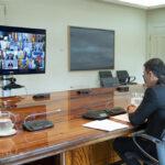 Pedro Sánchez en conferencia con los presidentes autonómicos durante el estado de alarma